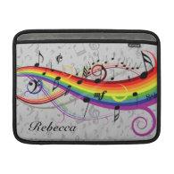 Rainbow Black Musical Notes on Gray MacBook Sleeves