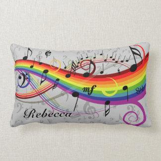 Rainbow Black Musical Notes on Gray Lumbar Pillow