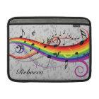 Rainbow Black Musical Notes on Gray MacBook Sleeve