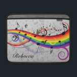 "Rainbow Black Musical Notes on Gray MacBook Sleeve<br><div class=""desc"">Black musical notes floating on a rainbow of swirling rainbow colors. The background is gray musical notes on a lighter shade. Add your own personalized name to create a unique gift for the music lover.</div>"