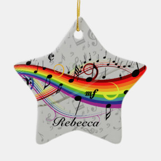 Rainbow Black Musical Notes on Gray Double-Sided Star Ceramic Christmas Ornament