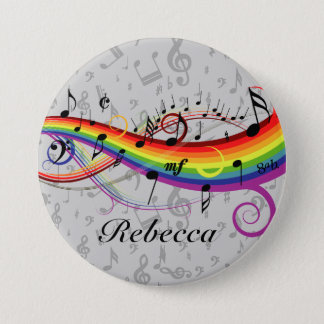 Rainbow Black Musical Notes on Gray Pinback Button