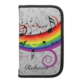 Rainbow Black Musical Notes on Gray Folio Planner