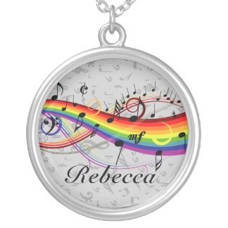 Rainbow Black Musical Notes on Gray Silver Plated Necklace