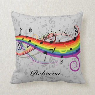 Rainbow Black Musical Notes on Gray Throw Pillow