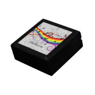 Rainbow Black Musical Notes on Gray Trinket Boxes