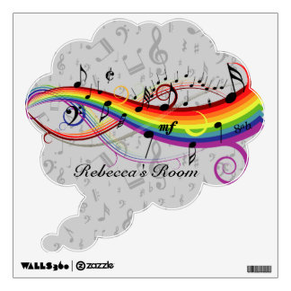 Rainbow Black Musical Notes on Gray Wall Decal