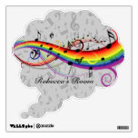 Rainbow Black Musical Notes on Gray Wall Decals
