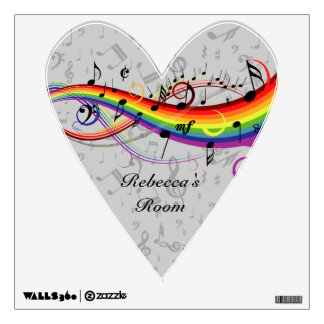 Rainbow Black Musical Notes on Gray Room Decal