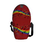 Rainbow Black Musical Notes on Red Messenger Bag