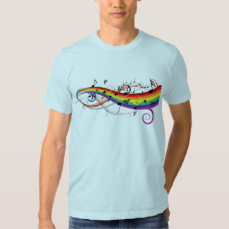 Rainbow Black Musical Notes Tee Shirt