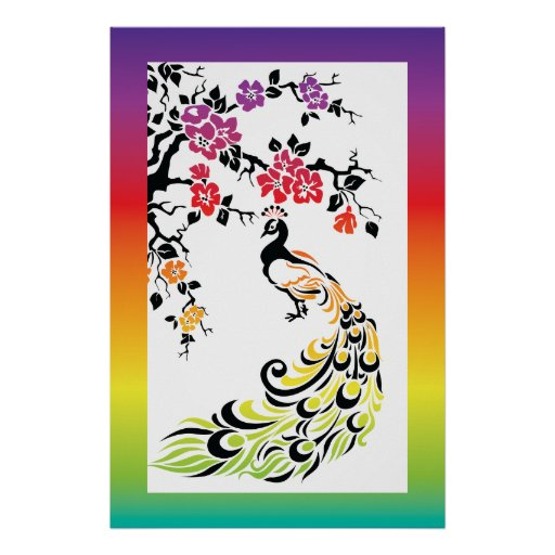 Rainbow, black peacock and cherry blossoms poster