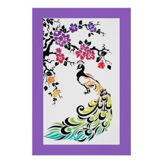 Rainbow black peacock and cherry blossoms posters