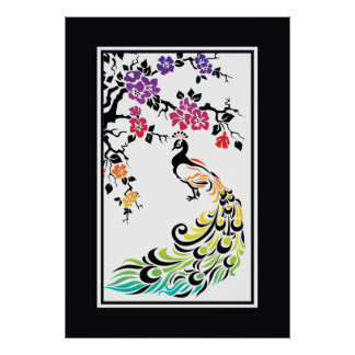 Rainbow black peacock and cherry blossoms poster