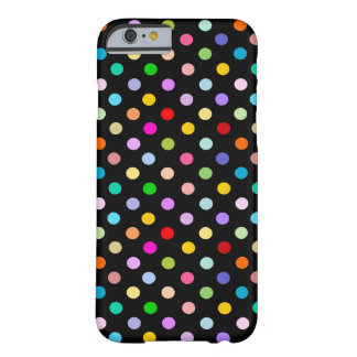 Rainbow & Black Polka Dot pattern Barely There iPhone 6 Case