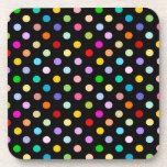 Rainbow Black Polka Dot pattern Coaster