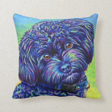 Rainbow Black Toy Poodle Cute Dog Throw Pillow