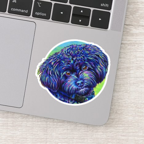 Rainbow Black Toy Poodle Vinyl Sticker