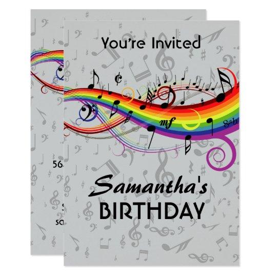 Rainbow Blck Music Notes Birthday Party Invitation