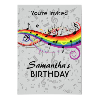 Rainbow Blck Music Notes  Birthday Party Personalized Invite
