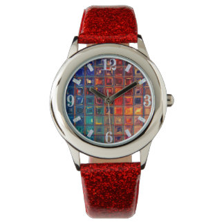 Rainbow Bling   Colorful Mosaic Tile Abstract Chic Wristwatch