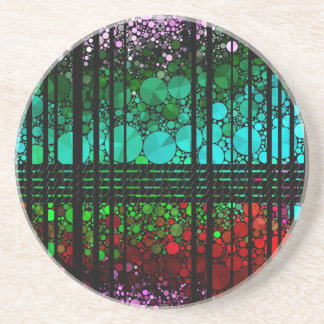 Rainbow Bling Pattern Sandstone Coaster