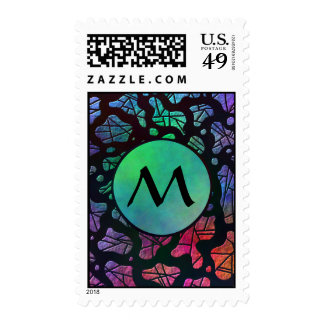 Rainbow Blobs with Monogram on Cold Colors Stamp