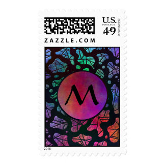 Rainbow Blobs with Monogram on Warm Colors Postage Stamps