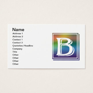RAINBOW BLOCK LETTER B BUSINESS CARD