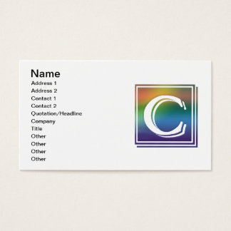 RAINBOW BLOCK LETTER C BUSINESS CARD