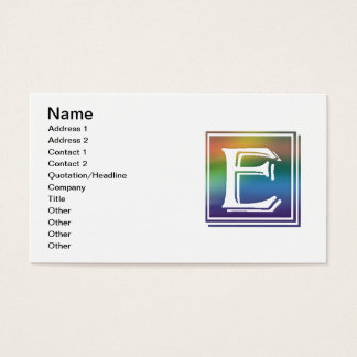 RAINBOW BLOCK LETTER E BUSINESS CARD