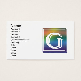 RAINBOW BLOCK LETTER G BUSINESS CARD