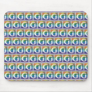 RAINBOW BLOCK LETTER G MOUSE PAD