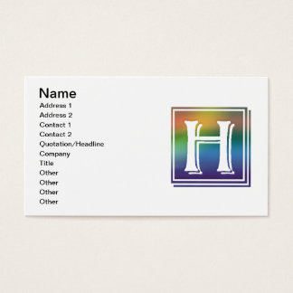 RAINBOW BLOCK LETTER H BUSINESS CARD