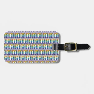 RAINBOW BLOCK LETTER H LUGGAGE TAG