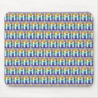RAINBOW BLOCK LETTER H MOUSE PAD