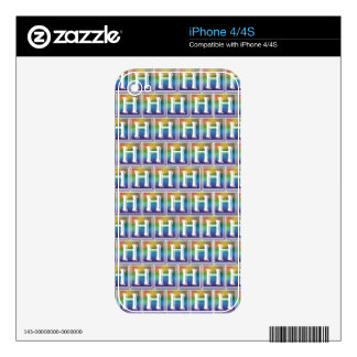 RAINBOW BLOCK LETTER H SKIN FOR iPhone 4S