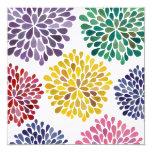 "Rainbow Blossoms Blank Fill In Any Occasion Invite 5.25"" Square Invitation Card"