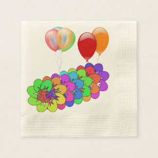 Rainbow Blossoms Flowers Balloons Shower Party Art Paper Napkins