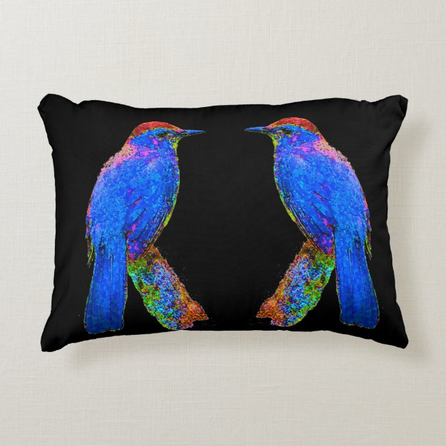 Rainbow Blue Birds Abstract Black Accent Pillow