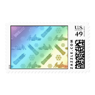 rainbow bobsled pattern stamp