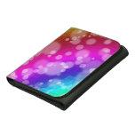 Rainbow Bokeh Pattern Leather Trifold Wallet