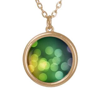 Rainbow Bokeh Round Pendant Necklace