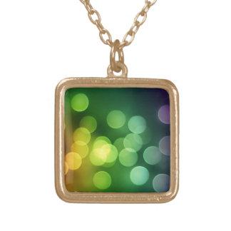 Rainbow Bokeh Square Pendant Necklace