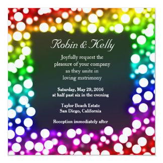 Rainbow bokeh wedding invitation