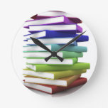 Rainbow Books Round Wall Clock