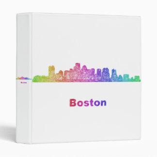 Rainbow Boston skyline 3 Ring Binder