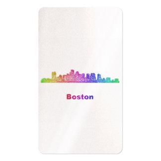 Rainbow Boston skyline Business Card