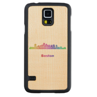Rainbow Boston skyline Carved Maple Galaxy S5 Slim Case