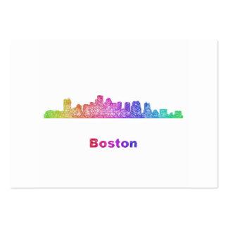 Rainbow Boston skyline Large Business Card